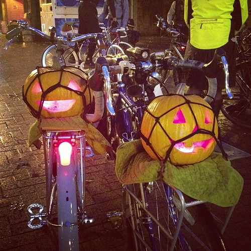 Our pumpkins going for a bike ride tonight.