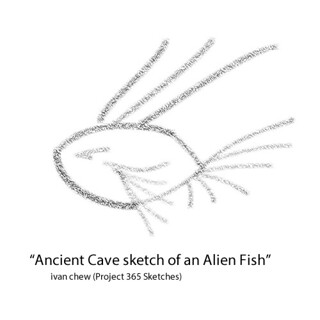 Ancient cave sketch of an Alien Fish