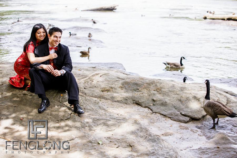 WTF Duck! Random Behind the Scenes Outtake | Amy & Michael's Day-After Bridal Shoot | Jones Bridge Park | Atlanta Chinese Korean Wedding Photographer