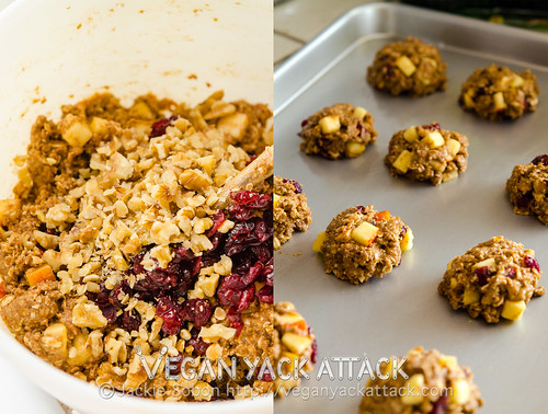 Delicious and healthy, Cran Apple Oatmeal Cookies studded with plenty of fruit, and buttery walnuts. They're great to serve as snacks, too!
