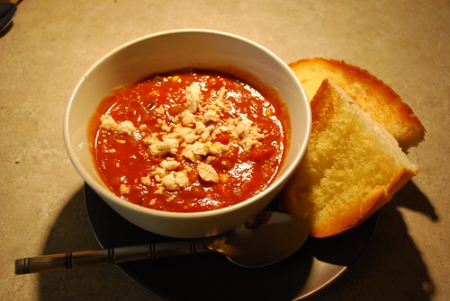 Enjoy with crumbled dairy-free cheese and toasted bread