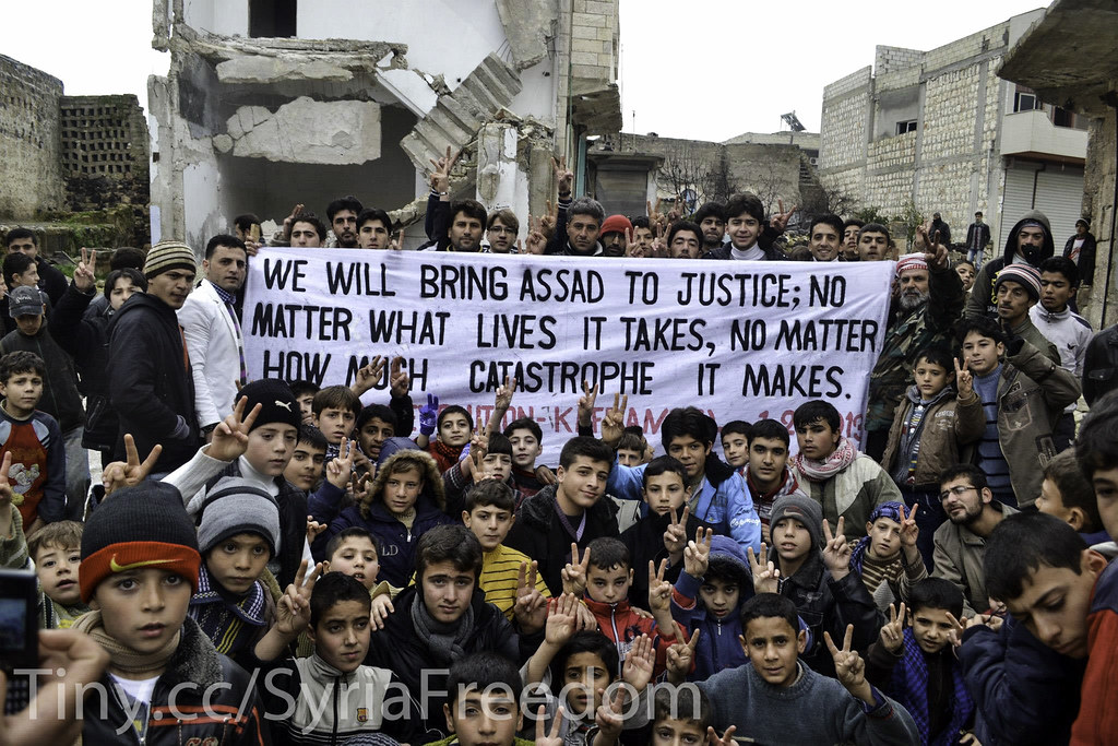 Revolutionary demonstration in Kafranbel, Syria, Feb. 1, 2013. Photo courtesy of Freedom House. http://tiny.cc/SyriaFreedom