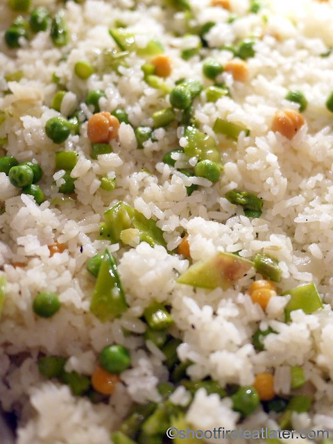 Bizu Private Caterer- rice pilaf with chickpeas, sweet peas & asparagus