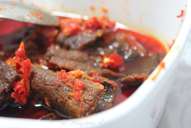 """""""Dendeng (kering) Balado"""" is the speciality of Dok Mami's. She's the expert making delicate thin and crunchy squares of beef jerky."""