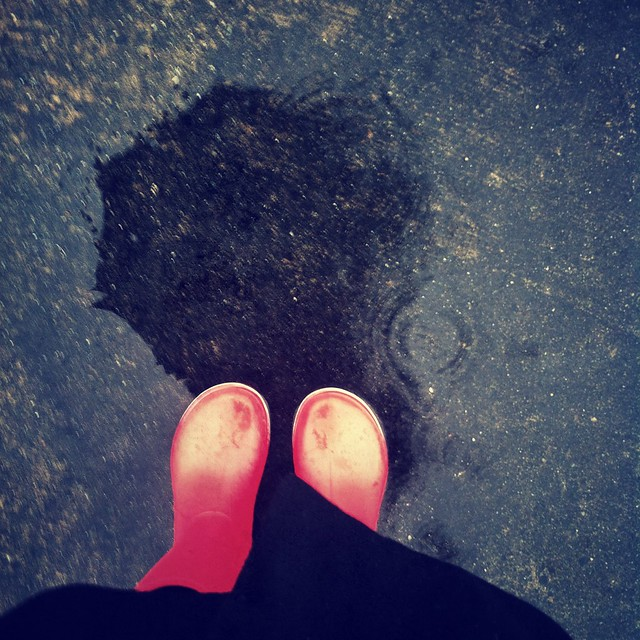 Perfect day for my red rain boots.
