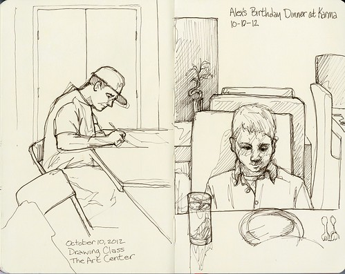 Sketching in Drawing Class and Birthday Dinner Sketch