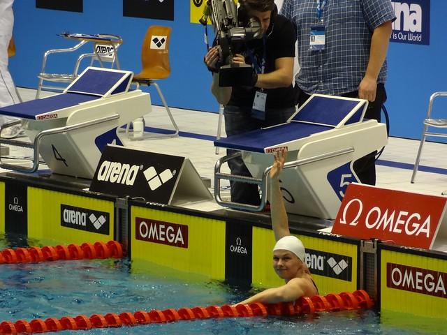 Britta Steffen after winning the Berlin 2012 World Cup women's 100 free