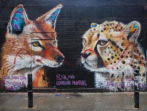 Graffiti (Masai), Hanbury Street, London, England.