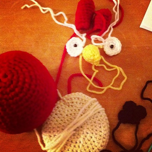 Eyes and tail. Now to piece him together. #amigurumi #crochet #angrybird #monster