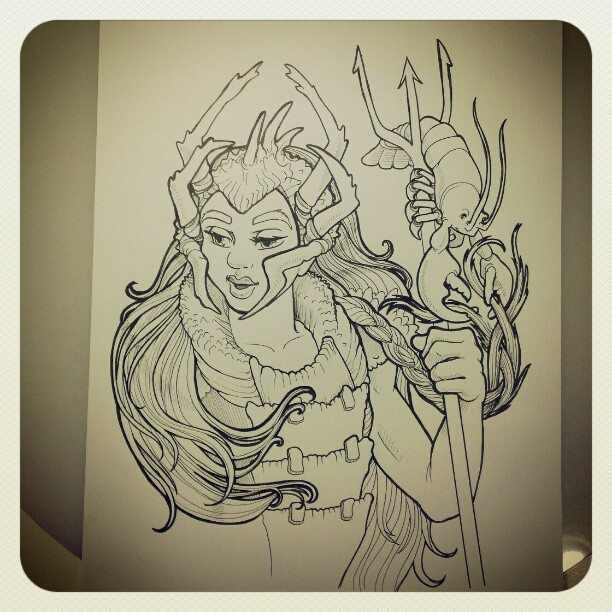 Mer-kingdom final inking: lobster #witharty