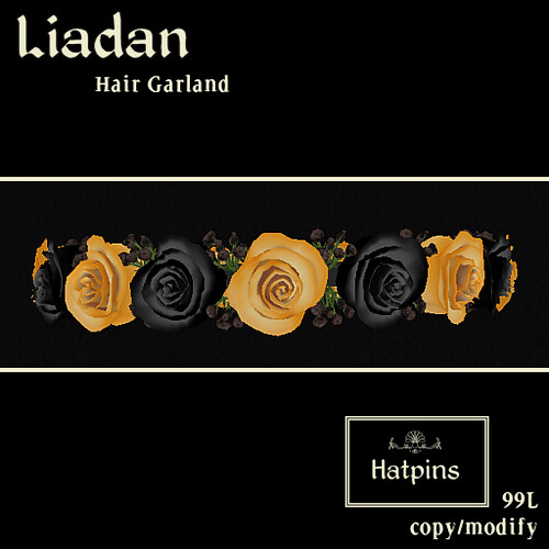 Hatpins - Liadan Hair Wreath - Orange and Black Roses