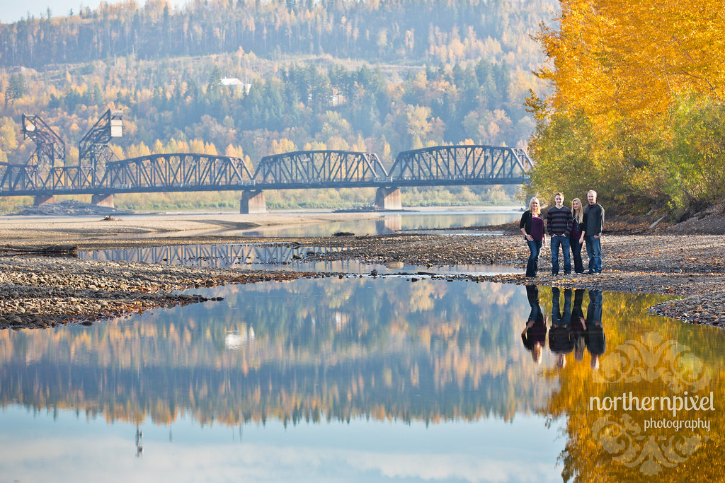 Fall Family Photography Prince George BC Reflections Train Bridge