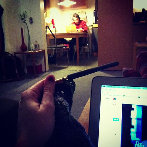 @svelgur studying, me in an ongoing #crochet marathon