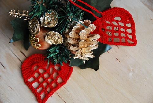 Crochet heart ornaments