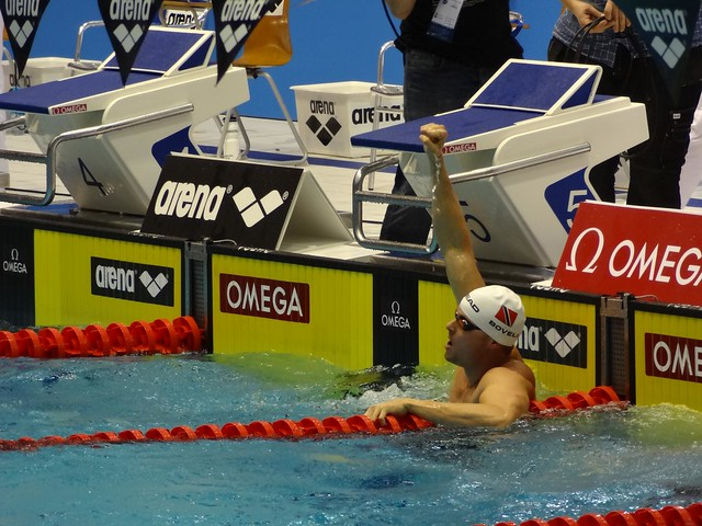 Bovell after winning the Berlin 2012 men's 100 IM
