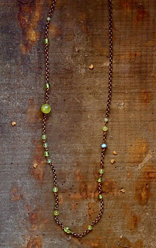 olive jade,tourmaline,copper by denise carbonell
