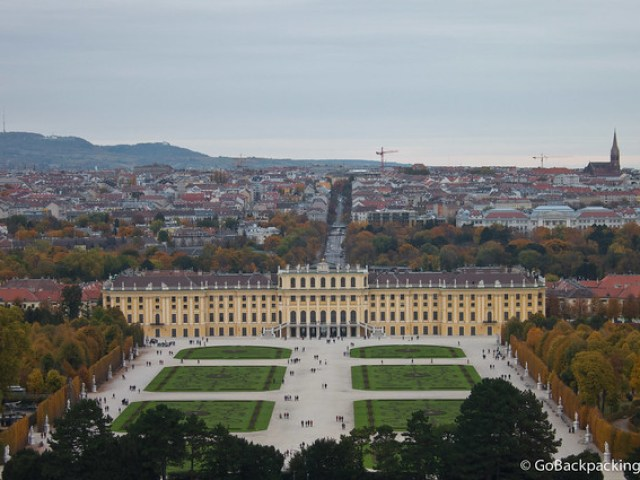 The massive Schönbrunn Palace