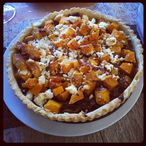 I also made butternut squash and carmelized onion tart with goat cheese and #glutenfree  crust. #family #thanksgiving