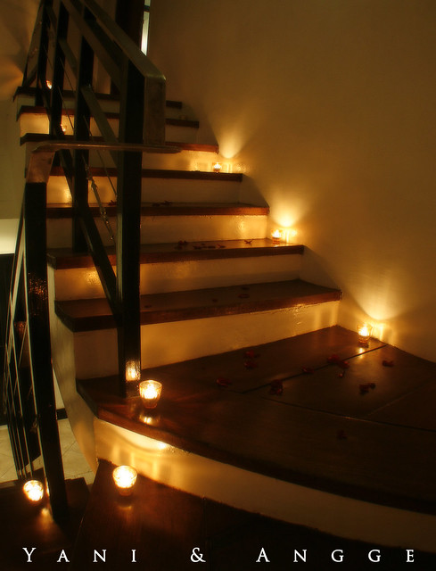 Stairs with flower petals and candles 7 suites hotel antipolo rizal