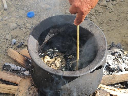 Lazami villagers showcasing dye making, Ahuna 2012, Zunheboto