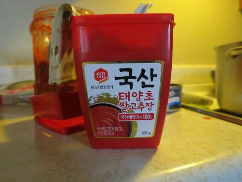 Chamchi kimchi udon noodle soup