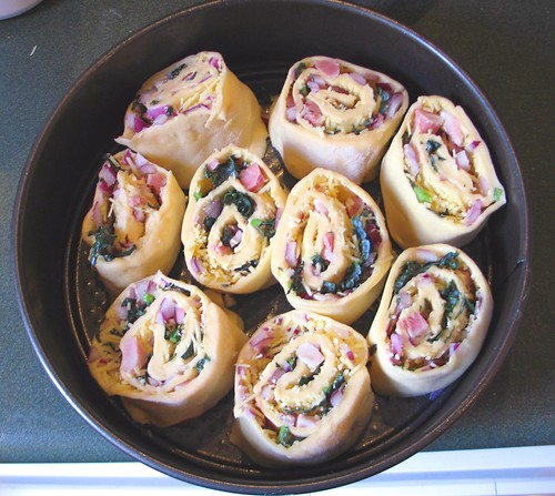 Savoury scorolls ready for second rise