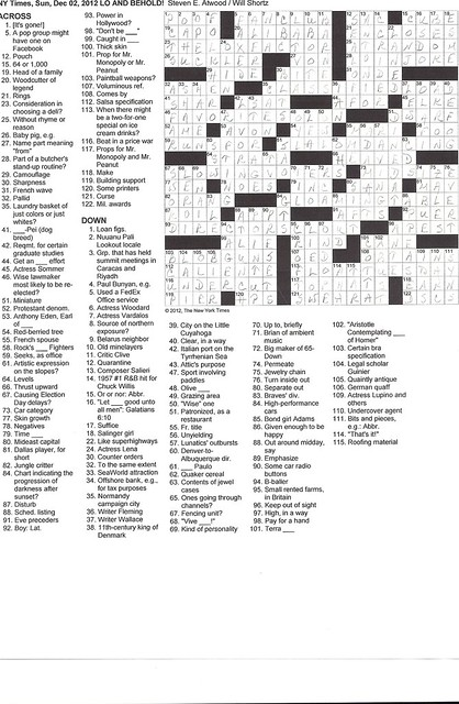 NYT Sunday Puzzle - December 2, 2012