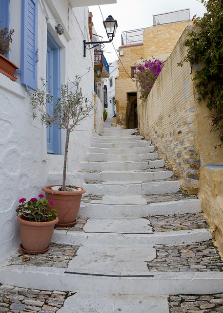 Ano Syros, Greece, Greek, island, Syros, white and blue houses, steps, blue door