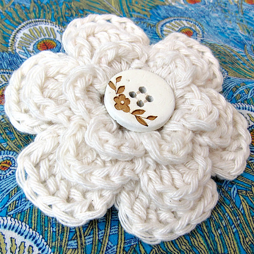 White cotton crochet flower brooch