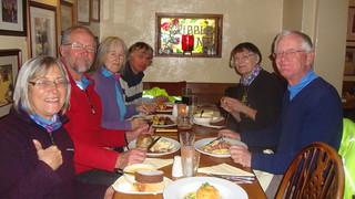 Lunch at Gribble Inn-exotic menu;roulade,pheasant, clams & game pud.