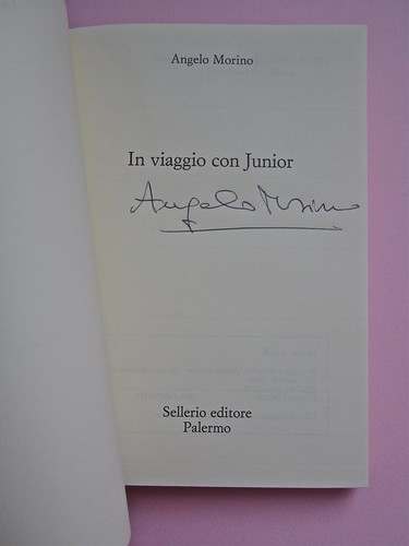 Angelo Morino, In viaggio con Junior. Sellerio 2002. [resp. grafica non indicata], alla cop.: Great Wave, di Michael Langenstein. Frontespizio (part.), 1