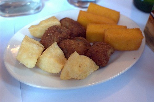 Cassava, fried banana, polenta