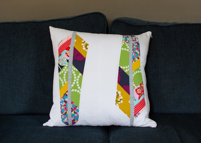 feather applique pillow
