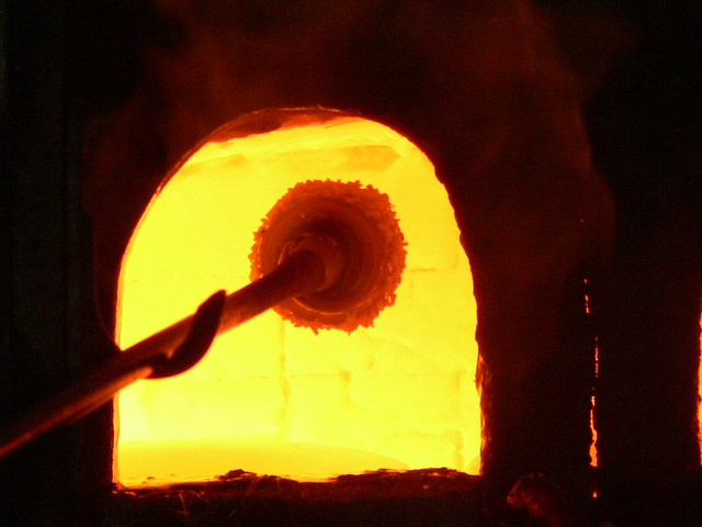 Glass making oven in Murano Italy