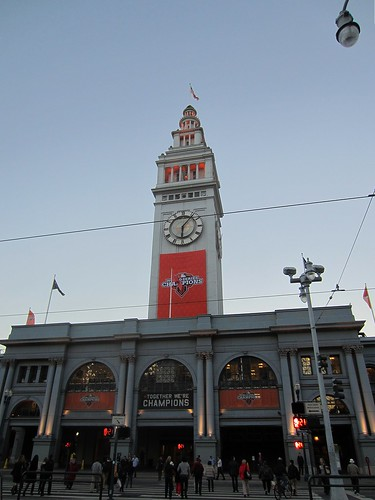 ferry building decorated with giants banners