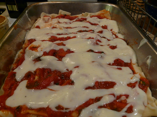 Bechamel Layer - Roasted Red Pepper Lasagna
