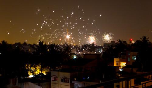 Diwali, fireworks by Saad Faruque