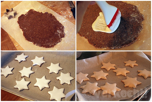 links oben: Teig auf Backpapier ausrollen / rechts oben: Teig mit Glasur bestreichen / links unten: Sterne vor dem Backen / rechts unten: Sterne nach dem Backen