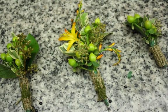 green hypericum boutonnieres