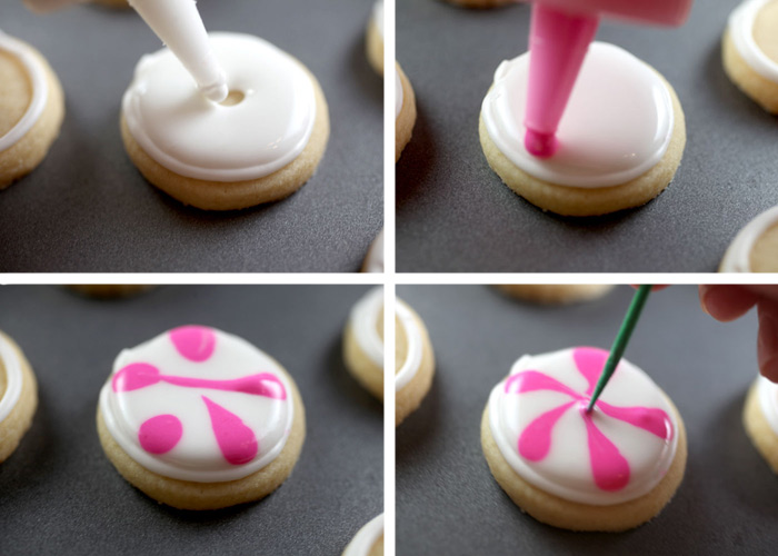 Peppermint Candy Sugar Cookies     bakerella com Piping Peppermint Cookies