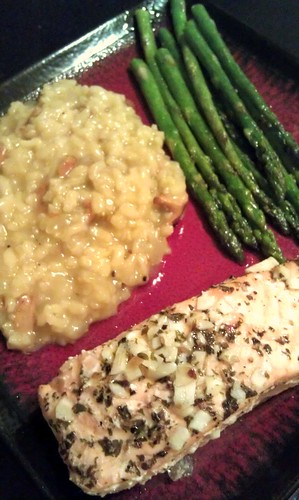 Salmon, chanterelle risotto, and asparagus by pipsyq