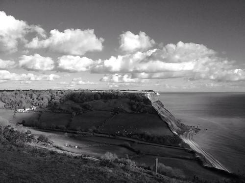 Sunny seascape, Salcombe Regis taken with Hueless