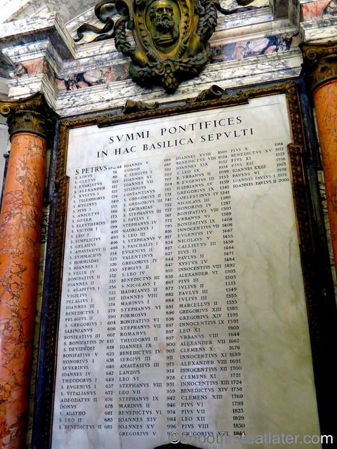 List of Popes Buried at St Peter's