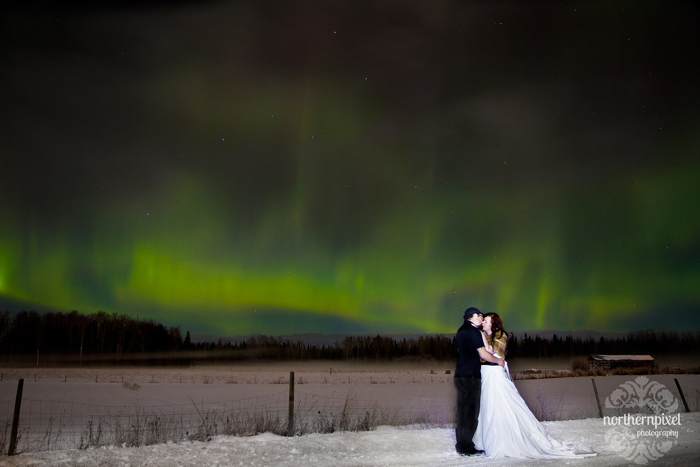 Northern Lights Wedding Couple Prince George British Columbia Canada Auroras