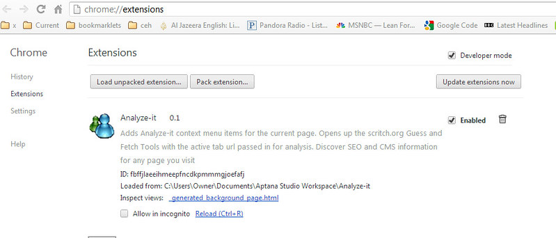 Google Chrome Extension – Developing Analyze-it, a Context Menu