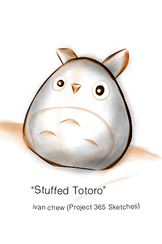 """Stuffed Totoro"" (#29: Project 365 Sketches)"