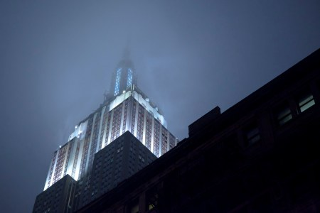 New York City :  Empire State Building at Night With Fog