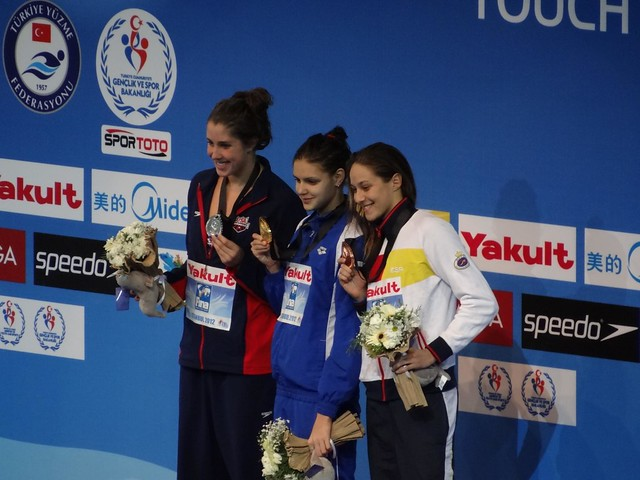 The Istanbul 2012 women's 200 back medal podium