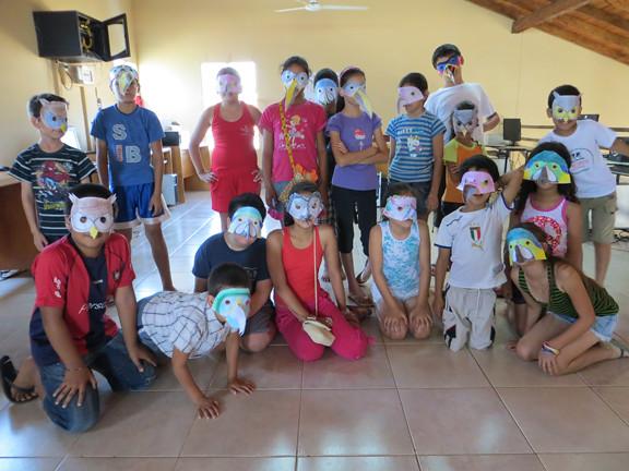 kids in bird masks