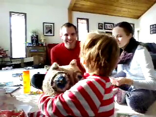 20121225. Skyping with the Colorado fam. Ben and his new owl.